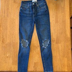 Free People busted skinny jeans in dark wash